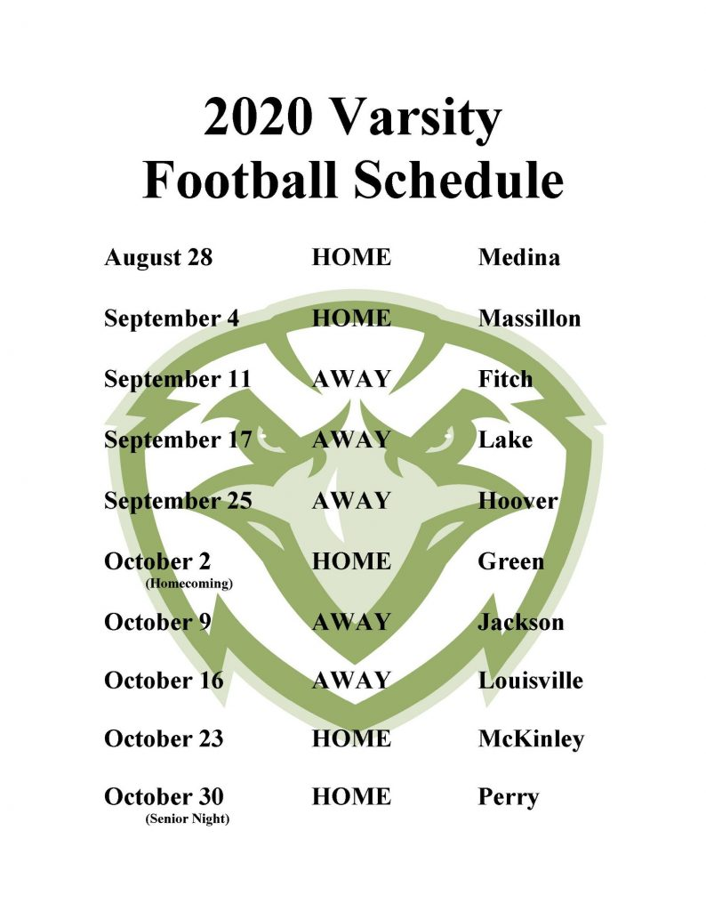 Updated 2020 Football Schedule